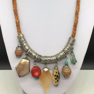Chico's Tan Braided Leather Boho Pendants Necklace
